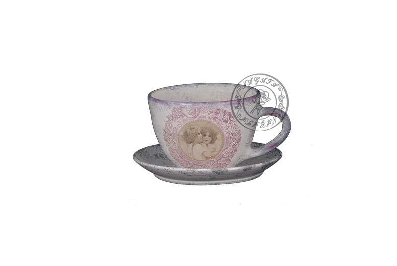Angyalos csésze + tányér